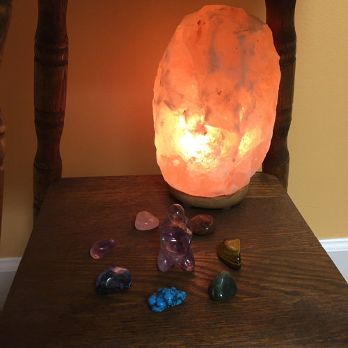 salt crystal stones massage woman