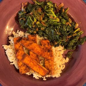 Vegetariam Meal With Kale, Tofu, and Brown Rice